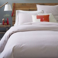 Ticking Stripe Duvet Cover + Shams - Stone White/Chili