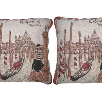 DaDa Bedding Set of Two Postcard of Venice Square Cushion Covers w/ Pillow Inserts - 2-PCS - 18""