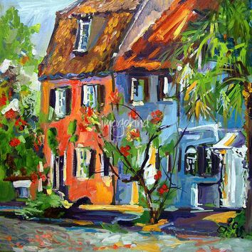 """""""Pink House On Chalmers Street Charleston South Car"""" by Ginette Callaway"""
