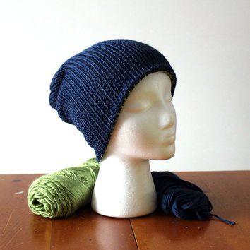 Choose your colors!! Reversible knitted slouchy/brim beanie. Multi wearable - Women Men Teens - super soft yarn - 35 colors available