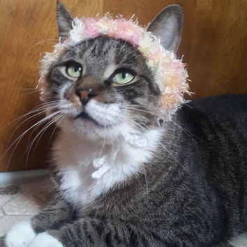 Cat Party Hat, fuzzy knit hat for cat