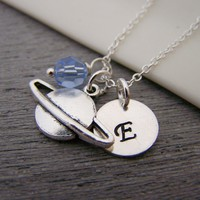 Planet Saturn Swarovski Birthstone Initial Personalized Sterling Silver Necklace / Gift for Her