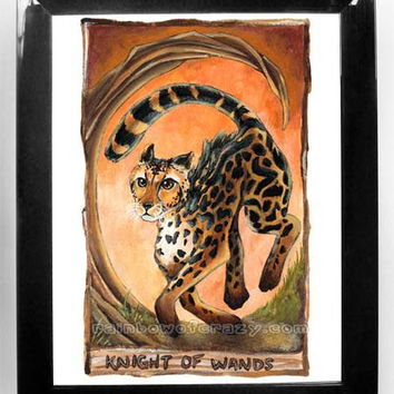 King Cheetah Print, Tarot Card Art, Knight of Wands, 8x10 Wall Art, Tarot Deck Artwork, Cat Illustration