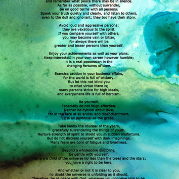 Desiderata 2 - Words of Wisdom Art Print by Sharon Cummings