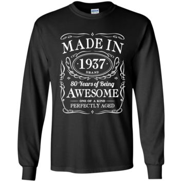 80th Birthday Gift Made In 1937 Awesome G240 Gildan LS Ultra Cotton T-Shirt