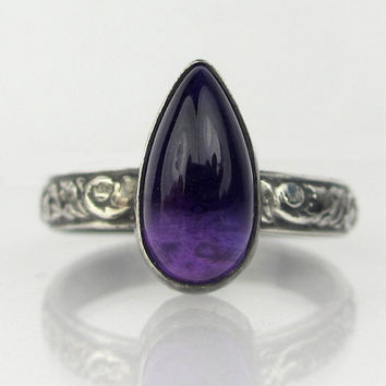 Amethyst Pear Shaped Cabochon Oxidized Sterling Silver Ring