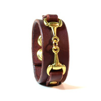 ASCOT SLIM  Leather Cuff Bracelet with Brass Equestrian Horse Detail Horsebit