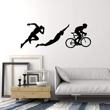 Vinyl Wall Decal Triathlon Sports Silhouettes Athlete Running Swimming Cycling Stickers Mural (ig5246)