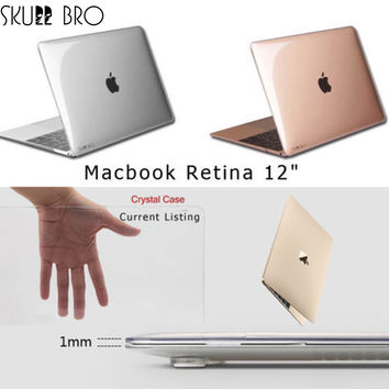"""Transparent Crystal Plastic Hard Clear Laptop Shell Case Cover Skin For Apple New MacBook 12"""" Retina"""