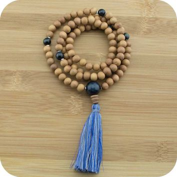 Sandalwood Mala with Blue Tigers Eye