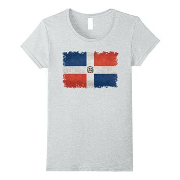 Dominican Republic Flag T-Shirt in Vintage Retro Style