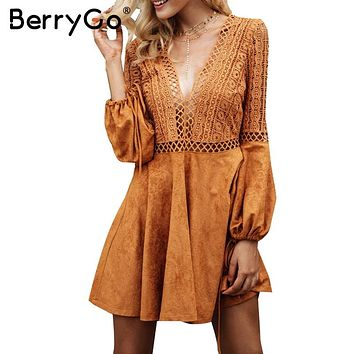 BerryGo Sexy v neck backless suede lace dress women Hollow out flare sleeve lace up winter dress dress party robe femme