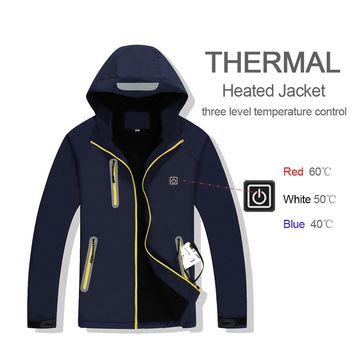 New Fleece Heated Hiking Jackets Windbreak Waterproof Men Women Outdoor Thermal Sport Coat Climbing Hunting Coat Skiing Jacket
