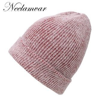 Neelamvar brand 2017 New Winter Hat for Women Rabbit Cashmere Knitted Beanies Thick Warm Vogue Ladies Wool Angora Beanie Hats
