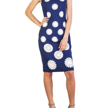Prada Women's Viscose Shimmering Beaded Floral Pattern Dress Navy (Size: 42, Color: Blue)