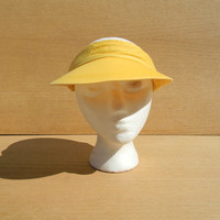 Vintage Yellow Sun Visor - Adjustable size Yellow Canvas Visor