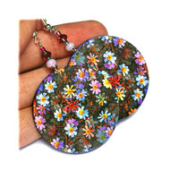 Meadow Flowers Lilac Violet Blue Red Round - Decoupage Earrings | Luulla