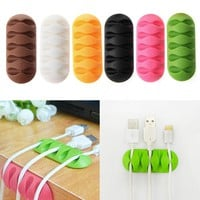 Multifunctional 5-Clip TPR Earphone Cable Winder Organizer Charger Cable Protector Holder Cover Case Fixing Device