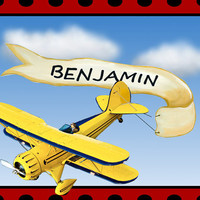 Custom Airplane Art Personalized with First Name Giclee Fine Art Print--Aviation Vintage Bi-Plane Baby Boy Child's Room or Nursery Print