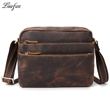 Men's Vintage genuine leather shoulder bag functional three zipper layer iPad cowhide messenger bag Genuine leather satchels