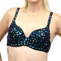 Iridescent Black Spike Bra Top