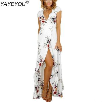 YAYEYOU 2017 Boho Plus Size Summer Dress Women Tunic Bandage Maxi Beach Dresses Long Sundress Robe Femme Vestido