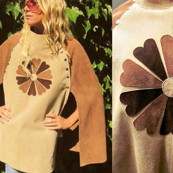 1960s Vintage 70s Hippie Suede Leather Tabard Cape Poncho Applique Flower Power SCA top