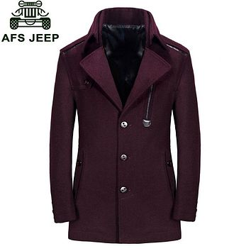 Wool & Blends Men Winter Erkek mont Palto Coat New 2017 Long Style Business Casual Parkas Brand Warm Clothing Wine Red