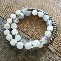 Love and Abundance, Moonstone and Cloudy Quartz 27 Bead Wrist Mala Bracelet