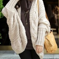 Off White Batwing Cable Knit Open Sweater
