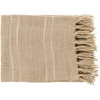 Traveler Open Weave Fringe Throw Blanket - Khaki