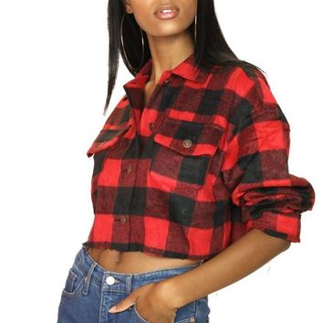 Huntress Plaid Cropped Jacket