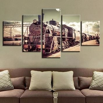 5 Pieces Vintage Railroad Locomotive Train Modular Picture Canvas Wall Frame