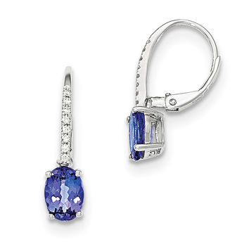 14k White Gold Oval Tanzanite & Diamond Leverback Earrings XE2738TZ/AA