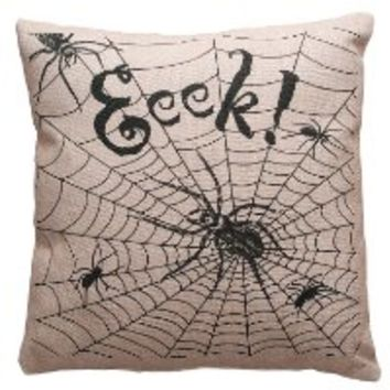 Halloween Decoration - Eeek !!! Spooky Spider Pillow - Halloween Pillow