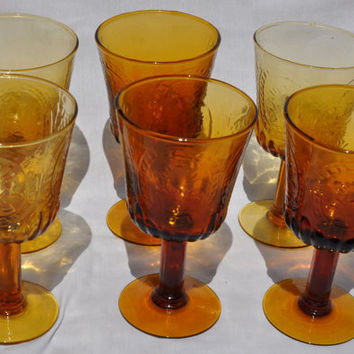 Vintage Fleur De Lis/Lys Amber Stemmed Glass Set of 6, Drinking Goblet Wine Glass Retro Gold Amber