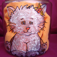 Hand Painted Cat Food Container, Glass Storage Jar for Cat Food