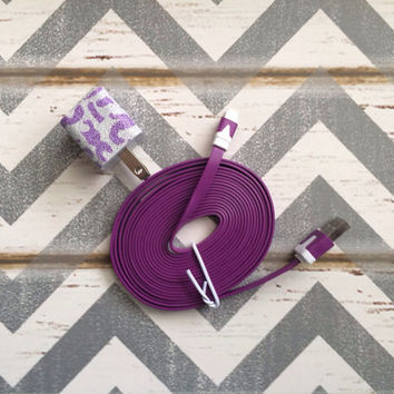 New Super Cute Purple Glitter Cheetah Print Designed USB Wall Connector + 10ft Flat Purple iPhone 5/5s/5c Cable Cord