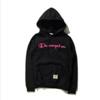 Tide brand Champion men and women couples long-sleeved hooded T-shirt plus cashmere sweater Black