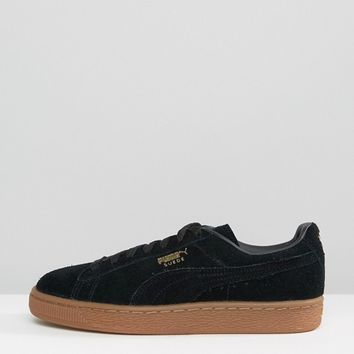 Puma Black Suede Classic Sneakers With Gum Sole at asos.com