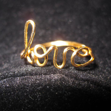 Gold Love Ring Wire Wrapped by aLilJazzJewelry on Etsy