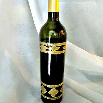 Gold Bands Bottle Hand Painted