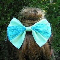 Mint and tiffany blue fabric barrette for teens and women,french barrette, hair bows bow hair clip big bow hair clip