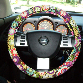 Peace with Flowers  Steering Wheel Cover