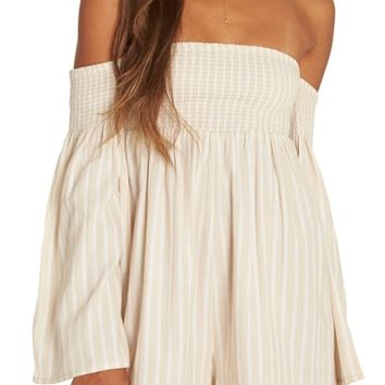 Billabong Fox on the Run Off the Shoulder Romper | Nordstrom