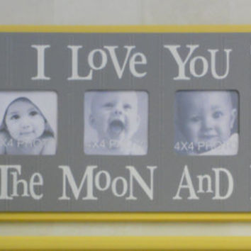 Yellow Grey Nursery - I Love you to the Moon and Back - Nursery Wall Art Baby Sign 4x4 Picture Frame