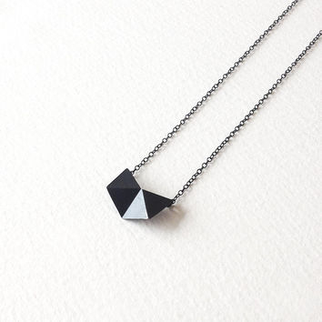 Geometric Chain Necklace, Oxidized Sterling Silver Chain Necklace, Geometric Charm Necklace, Hexagon Pendant Necklace, Minimalist Necklace