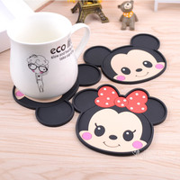 Mickey Mouse silicone dining table placemats coaster coffee drinks kitchen accessories cup bar mug placemats coaster mats  pads
