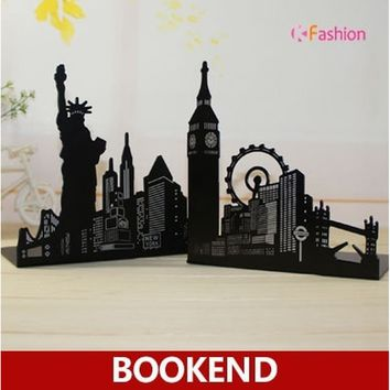 Ferris Wheel / Eiffel Tower / Statue of Liberty Metal Book Ends, Novelty Vintage Black Bookend as book stand for home and office