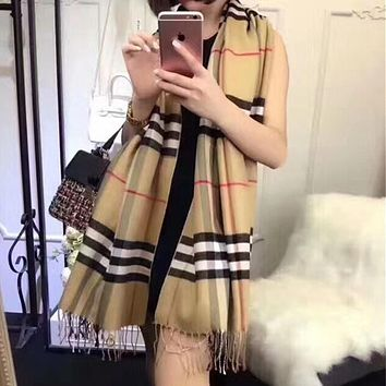 """Burberry"" Women Casual Fashion Classic Multicolor Stripe Tartan Tassel Cashmere Shawl Scarf"